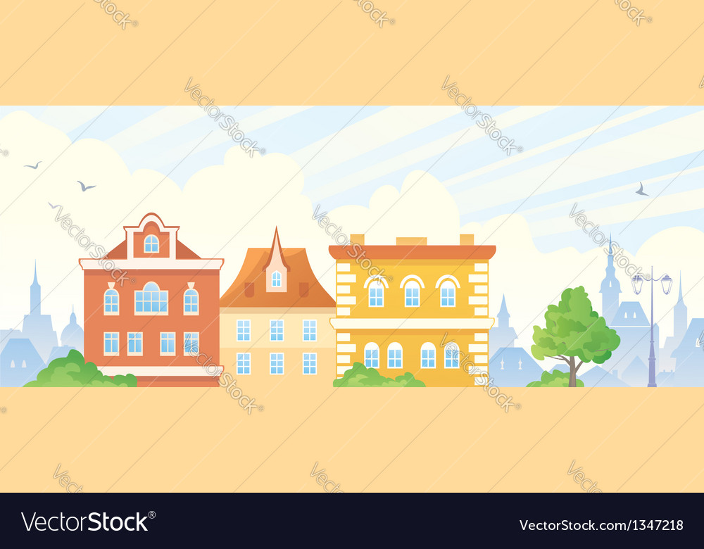 Summer town banner vector | Price: 1 Credit (USD $1)