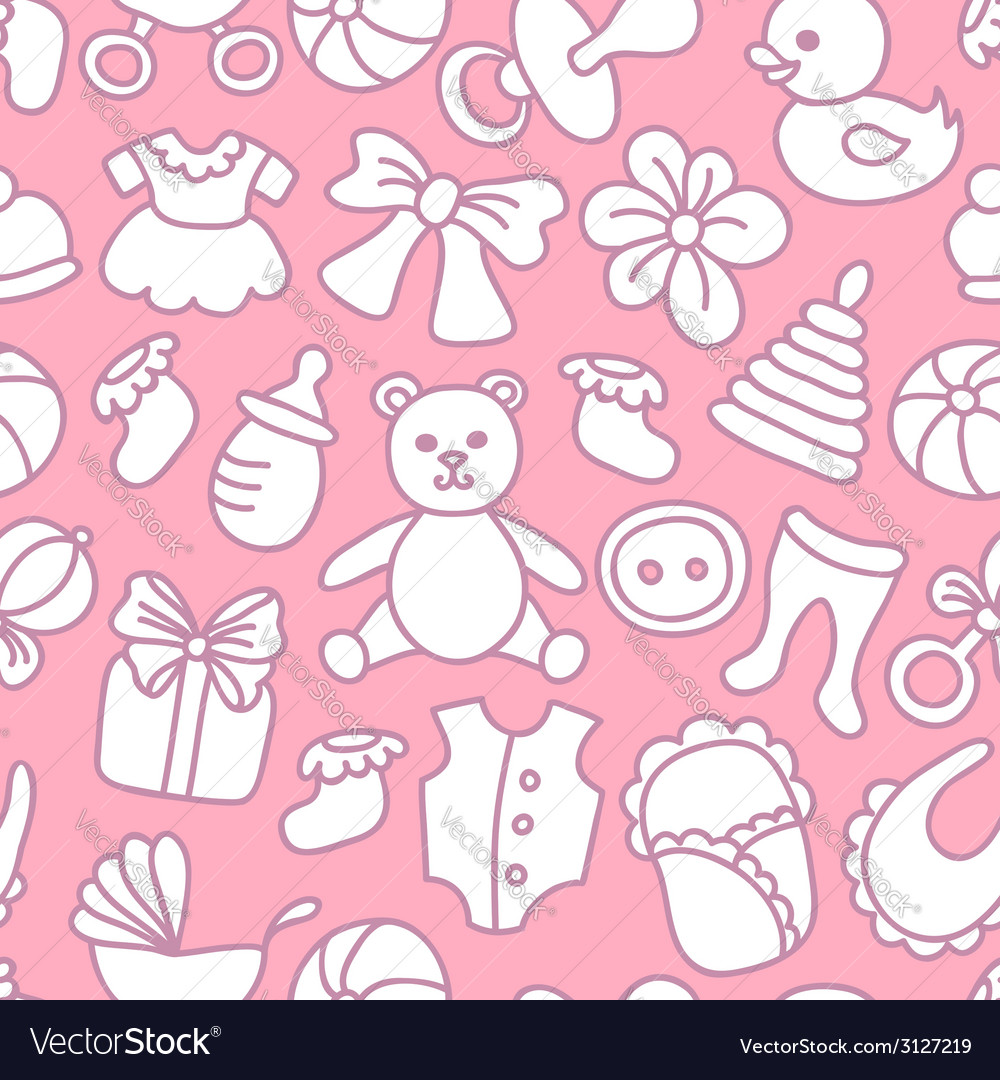 Baby girl seamless pattern vector | Price: 1 Credit (USD $1)
