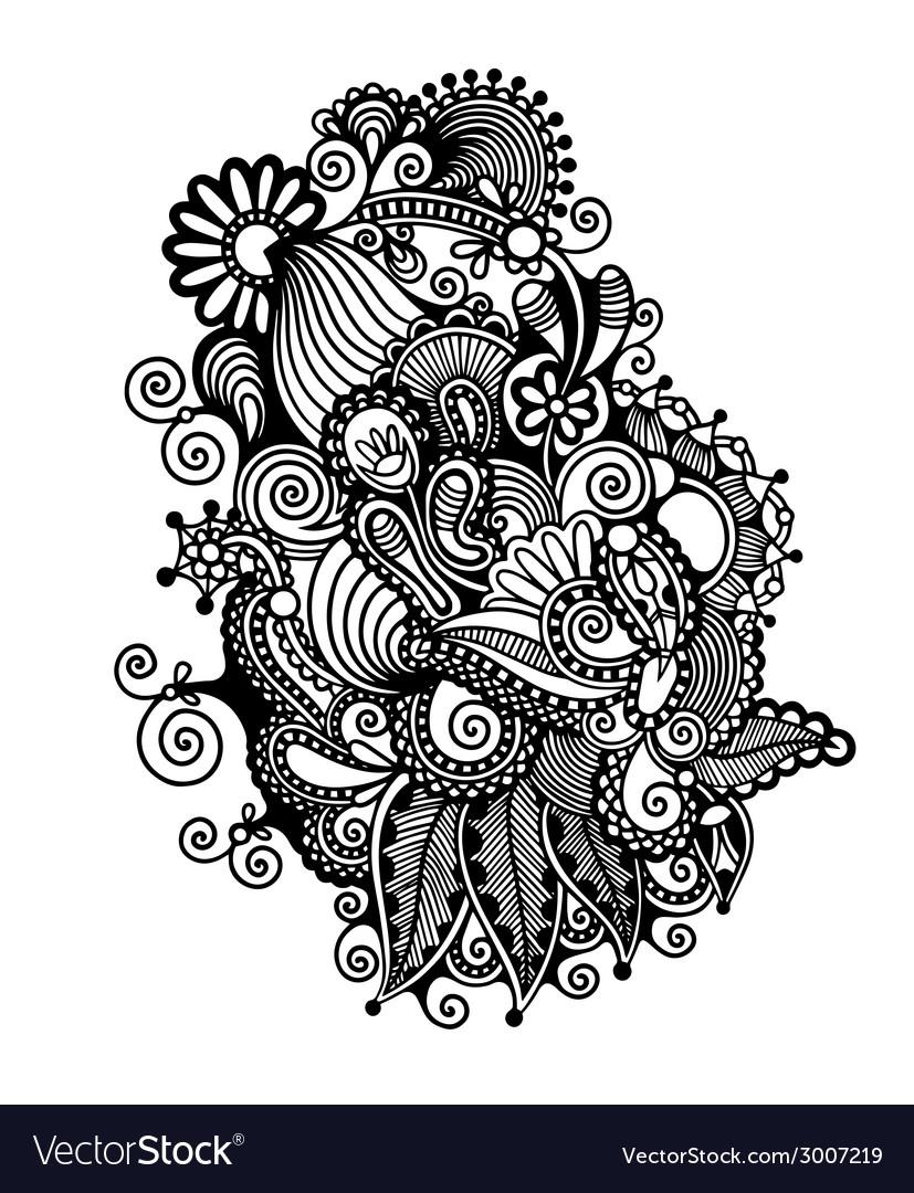 Black line art ornate flower design vector | Price: 1 Credit (USD $1)