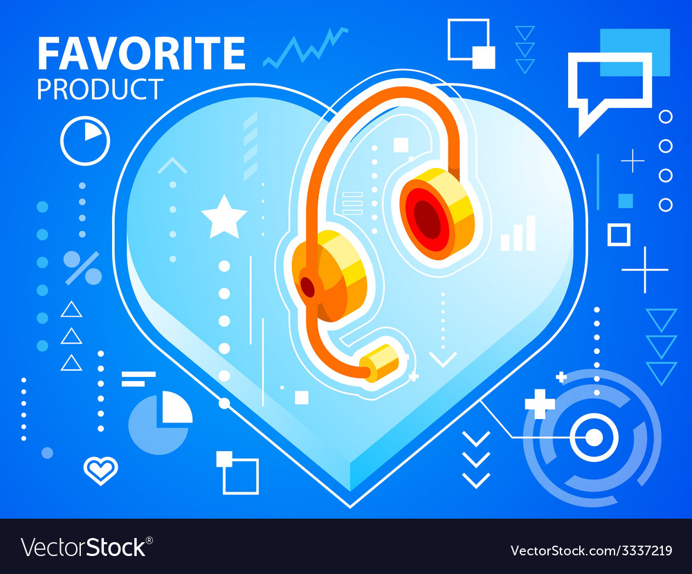 Bright heart and head phone on blue backgrou vector | Price: 3 Credit (USD $3)