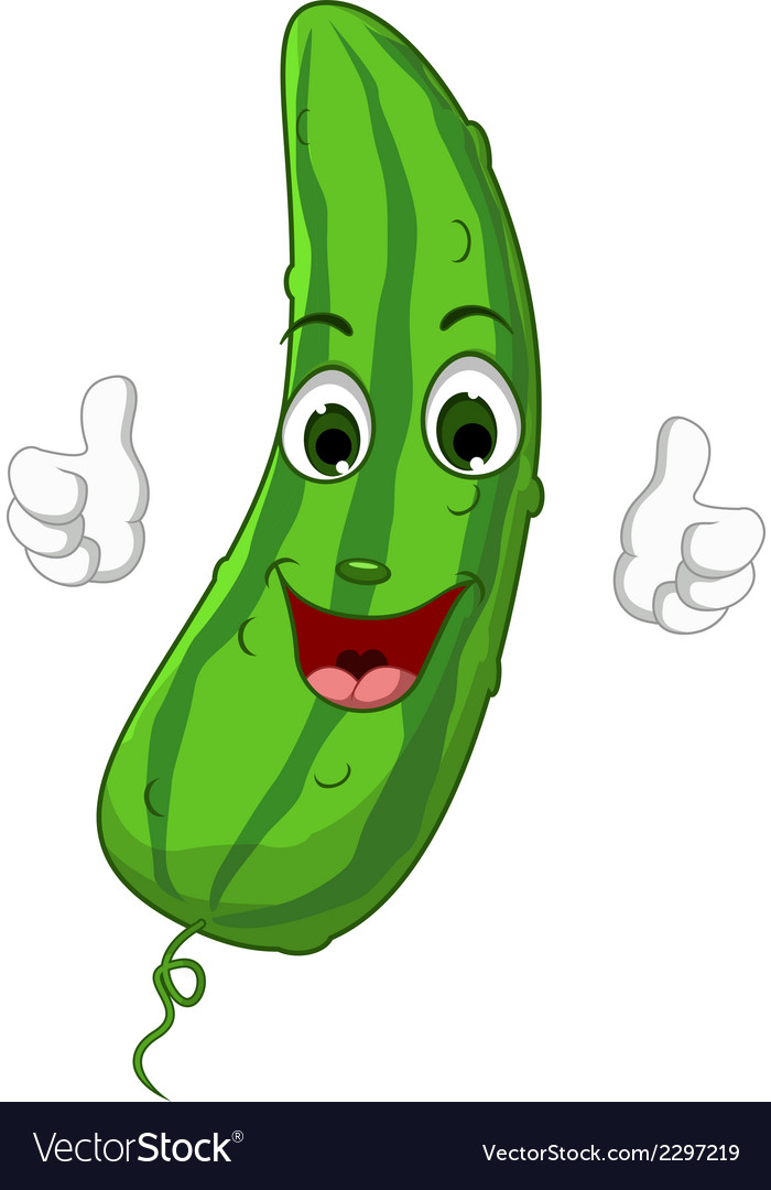 Cartoon cute cucumber giving thumbs up vector | Price: 1 Credit (USD $1)