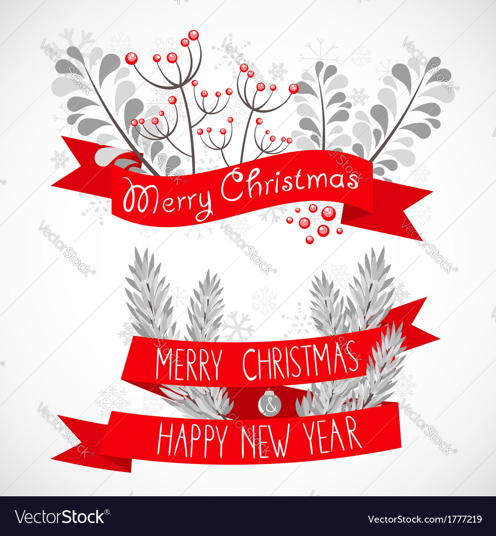 Christmas greeting banner with decorative elements vector | Price: 1 Credit (USD $1)