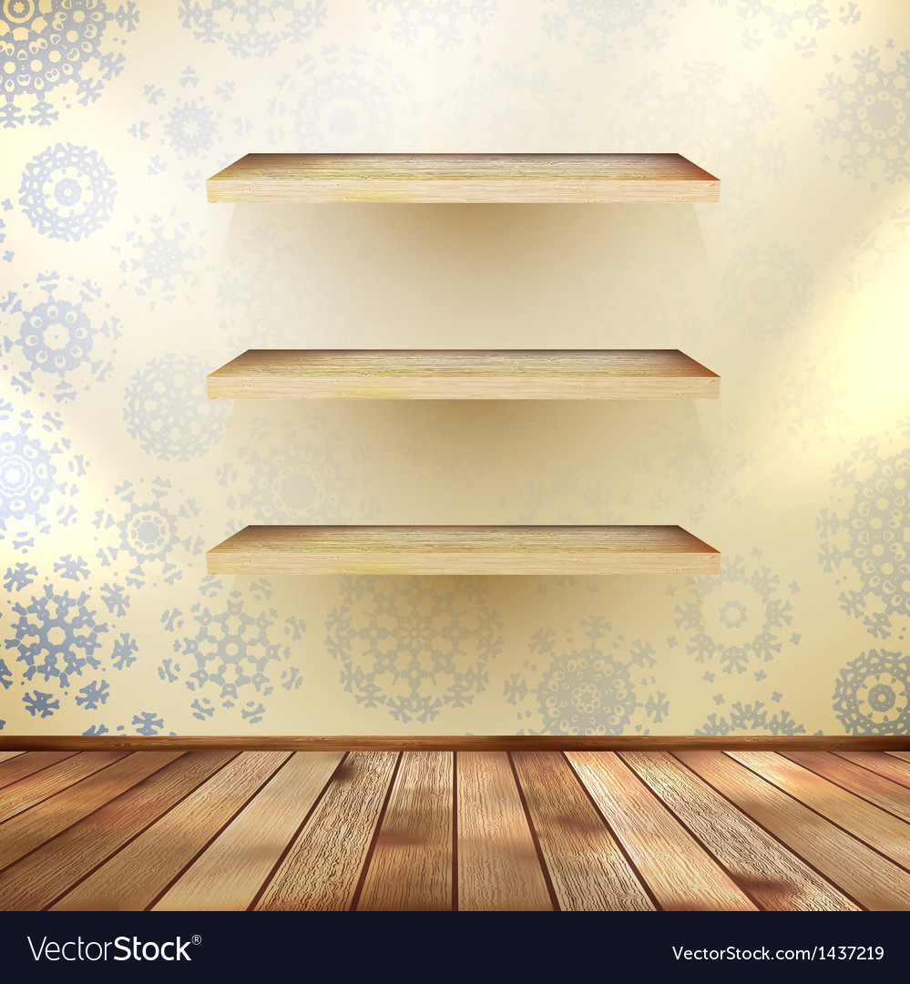 Christmas shelfs with wood floor eps 10 vector | Price: 1 Credit (USD $1)