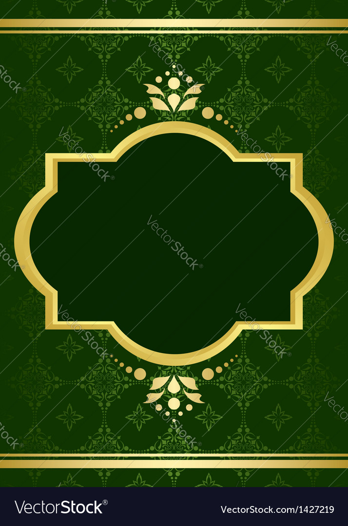 Dark green elegant card with golden decor vector | Price: 1 Credit (USD $1)