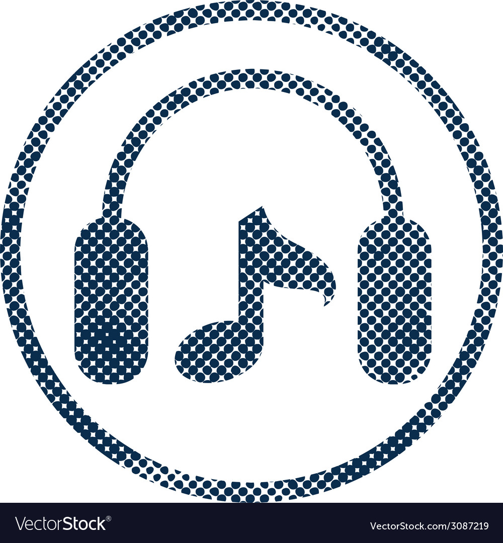 Headphones icon with halftone dots print texture vector | Price: 1 Credit (USD $1)