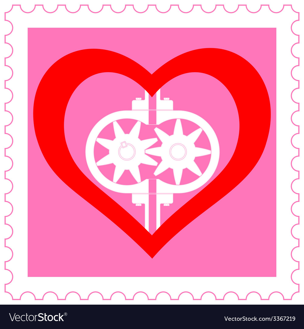 Heart pump on stamp vector | Price: 1 Credit (USD $1)