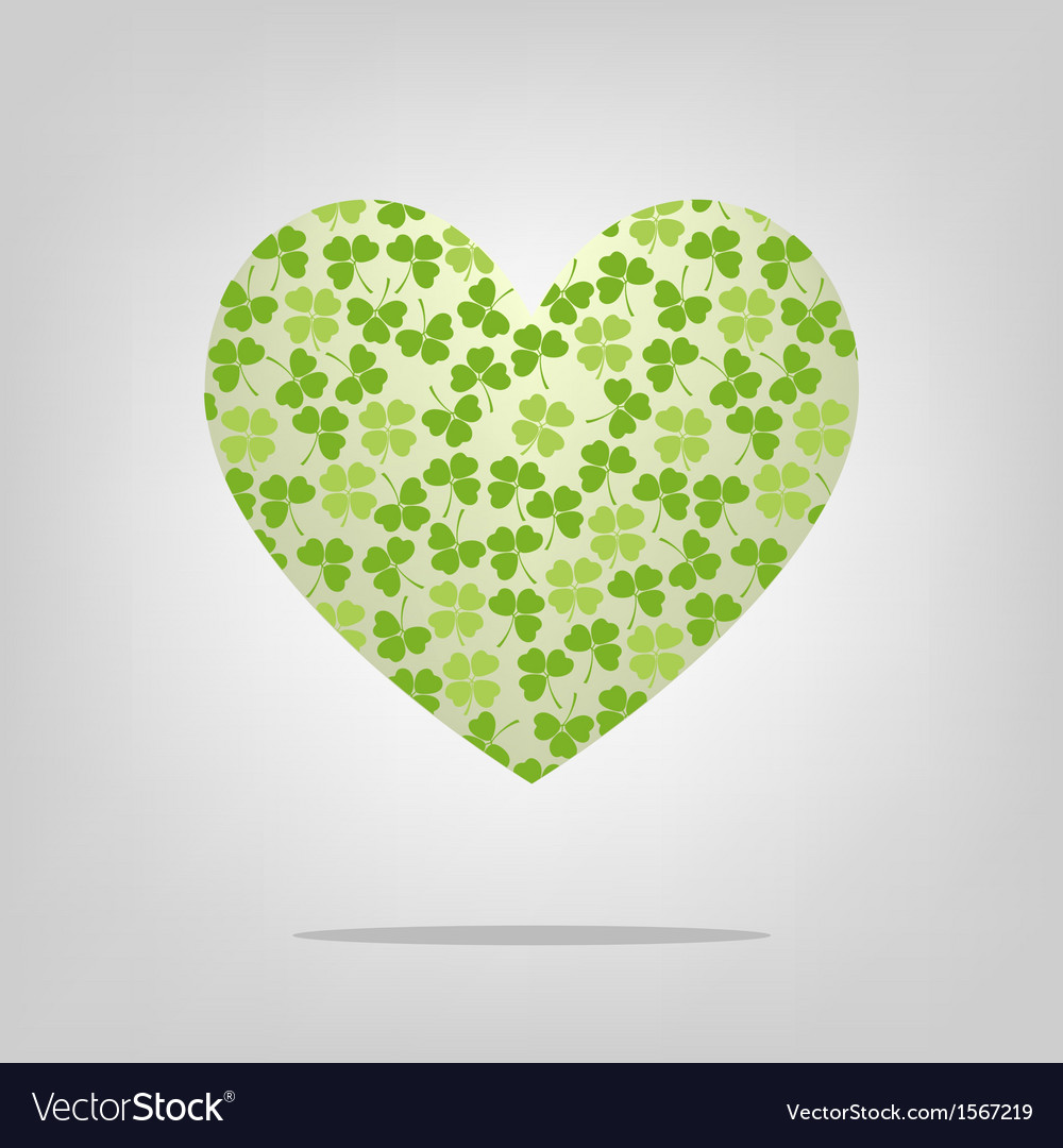 Heart with clover pattern vector | Price: 1 Credit (USD $1)