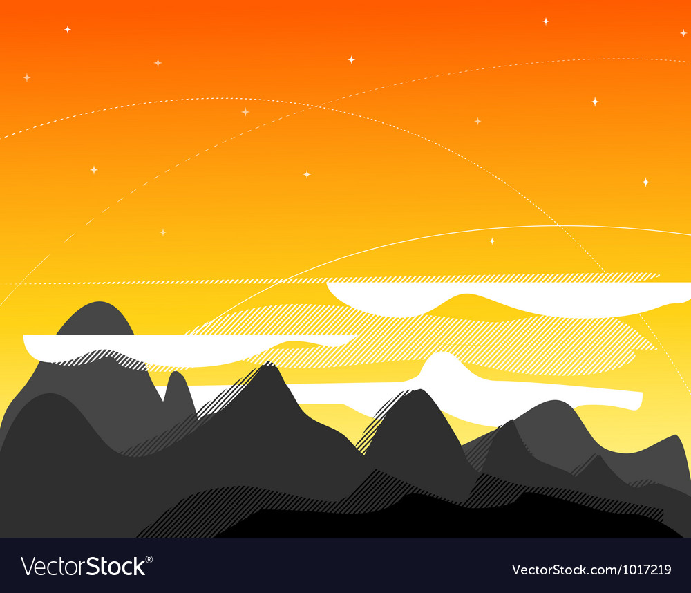 Orange picture with mountains clouds and s vector | Price: 1 Credit (USD $1)