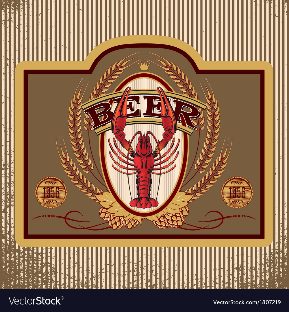Oval label with crawfish beer vector | Price: 1 Credit (USD $1)