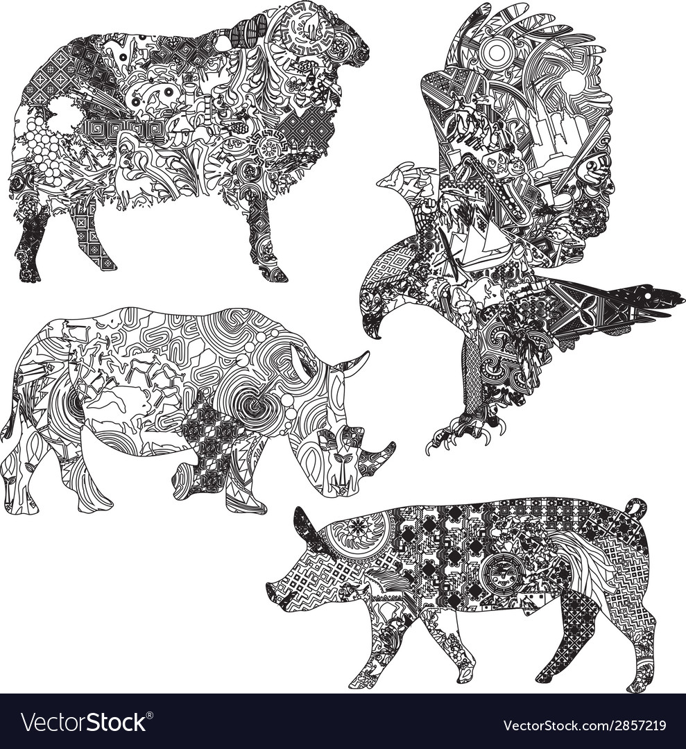 Set of animals in the ethnic ornaments vector | Price: 1 Credit (USD $1)