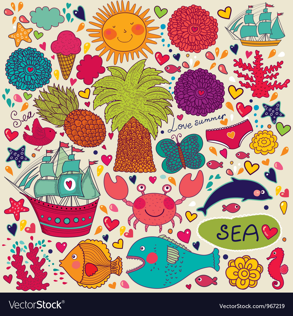 Summer objects vector | Price: 3 Credit (USD $3)