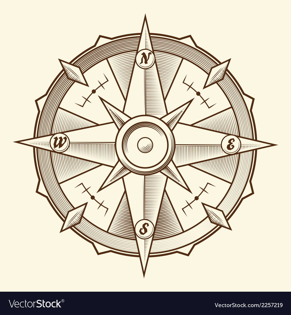 Vintage graphic compass vector | Price: 1 Credit (USD $1)