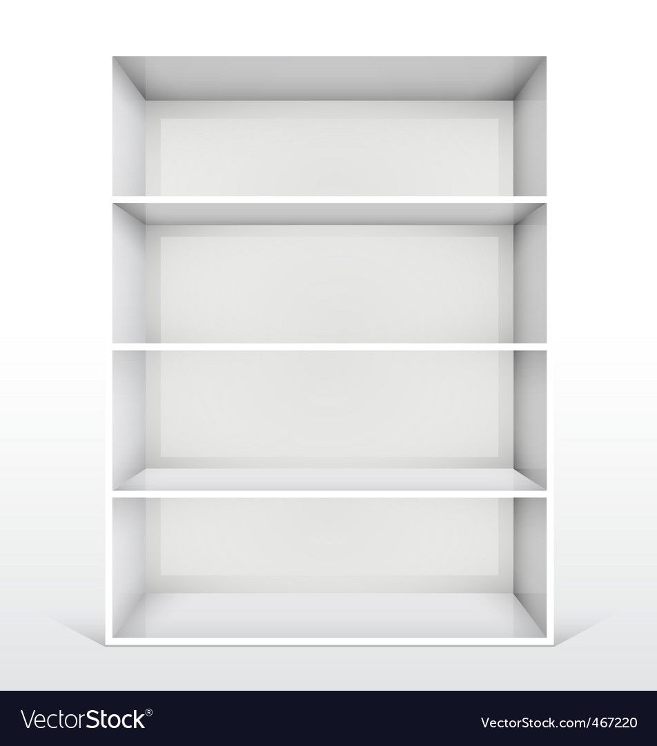 3d isolated empty white bookshelf vector | Price: 1 Credit (USD $1)