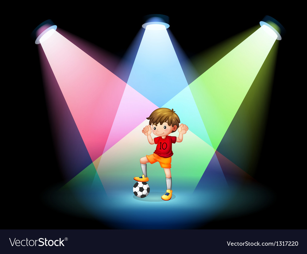 A soccer player at the stage with spotlights vector | Price: 1 Credit (USD $1)
