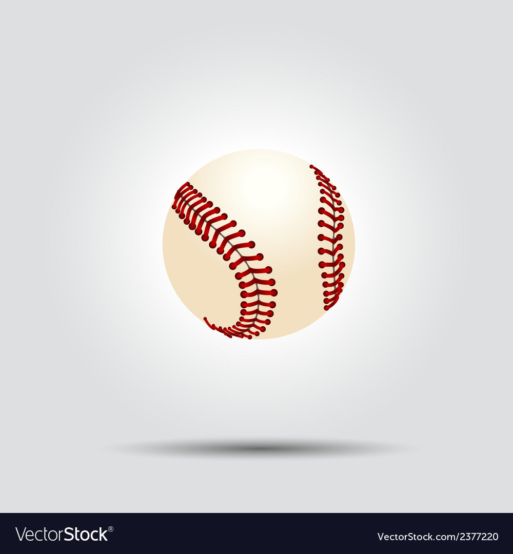 Baseball ball isolated on white with shadow vector | Price: 1 Credit (USD $1)