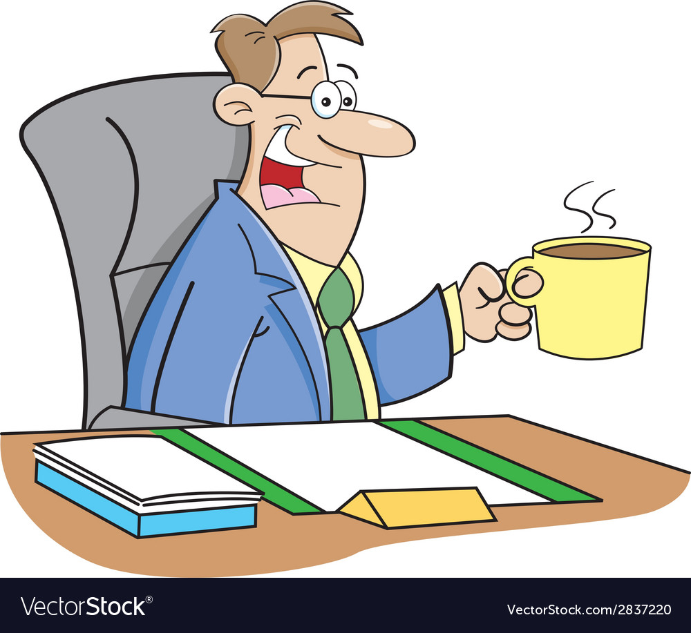 Cartoon man drinking coffee vector | Price: 1 Credit (USD $1)