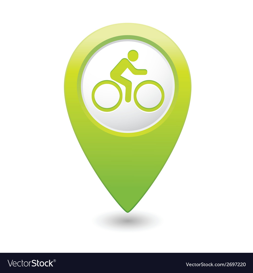 Cyclist symbol map pointer green vector   Price: 1 Credit (USD $1)