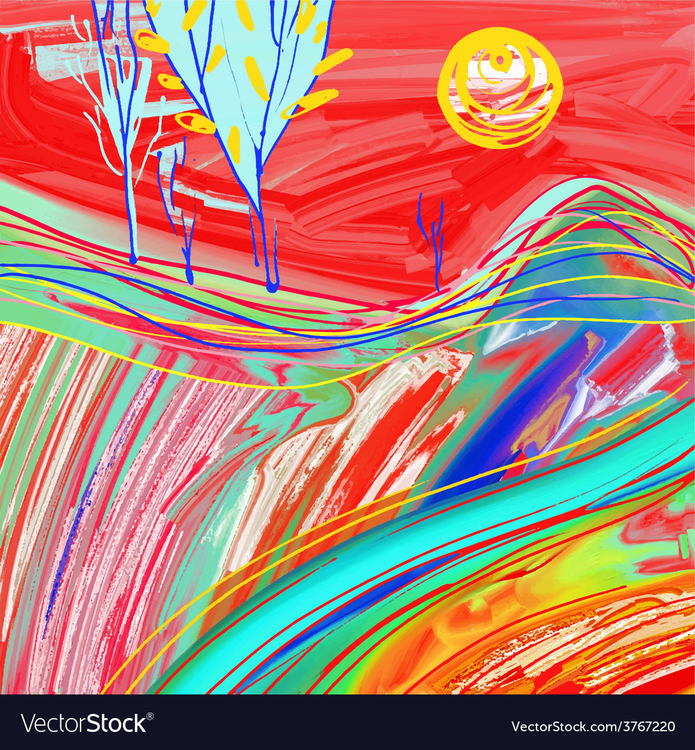 Digital painting of red sunset landscape vector | Price: 1 Credit (USD $1)