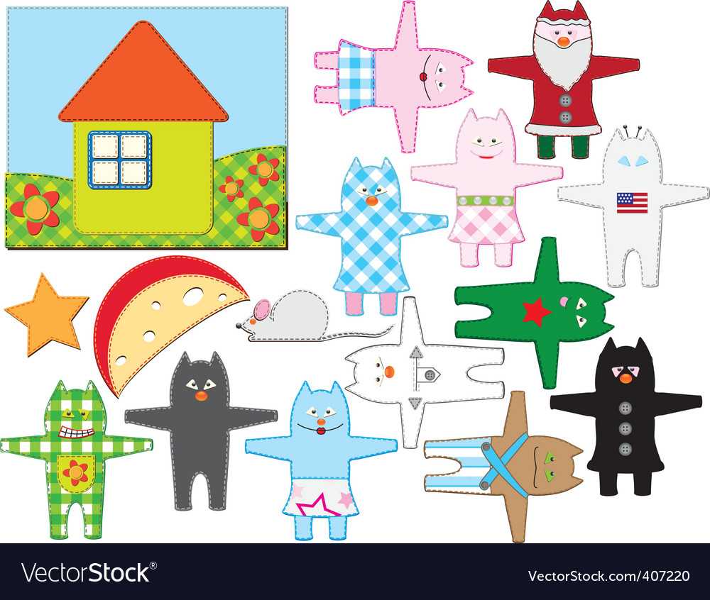 Patchwork cats vector   Price: 1 Credit (USD $1)