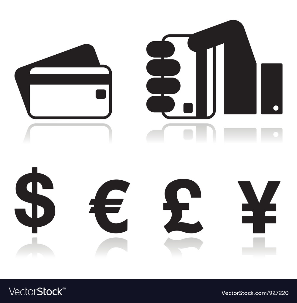 Payment methods icons set - credit card by cash vector | Price: 1 Credit (USD $1)