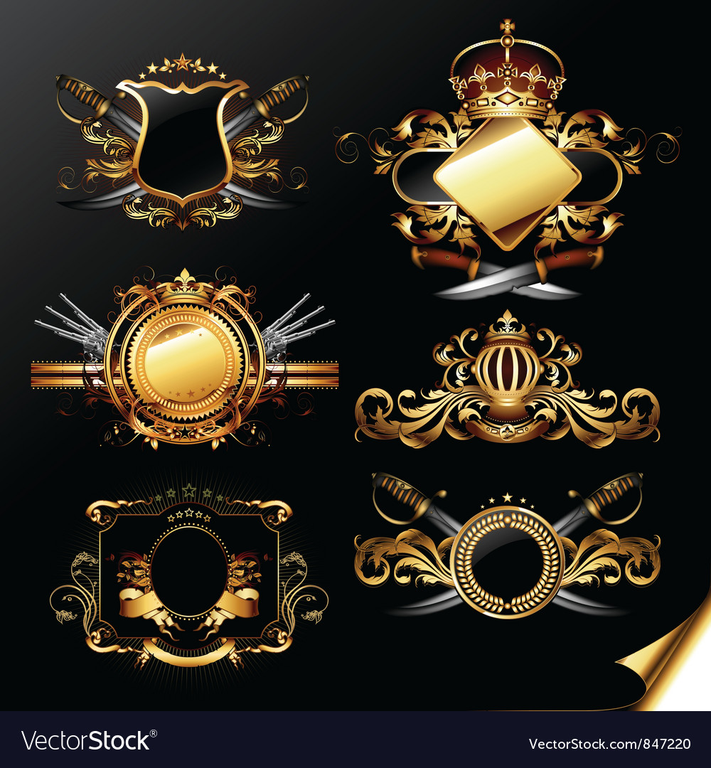Set of ornamental golden labels vector | Price: 3 Credit (USD $3)