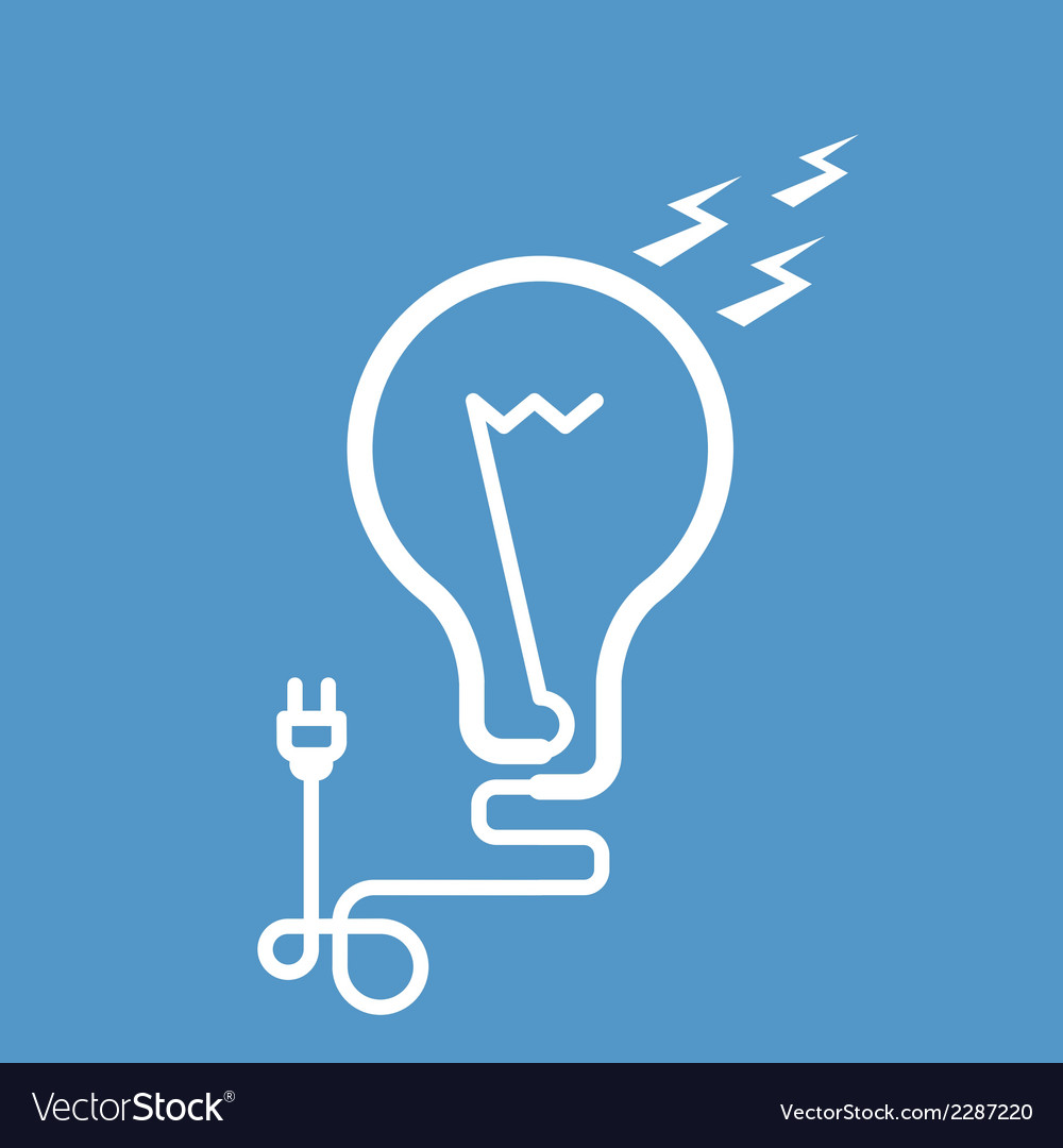 Symbolic light bulb with cord and electric plug vector | Price: 1 Credit (USD $1)