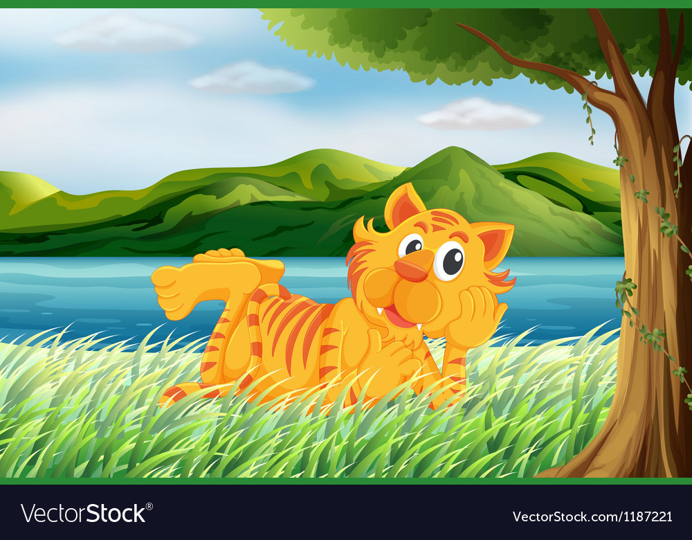A tiger relaxing at the grass vector | Price: 1 Credit (USD $1)