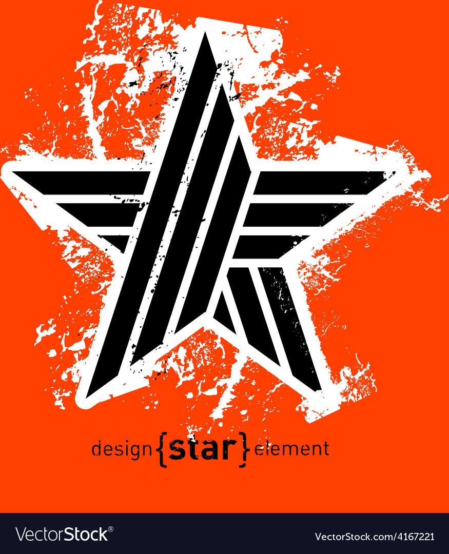 Abstract geunge design element black star vector | Price: 1 Credit (USD $1)