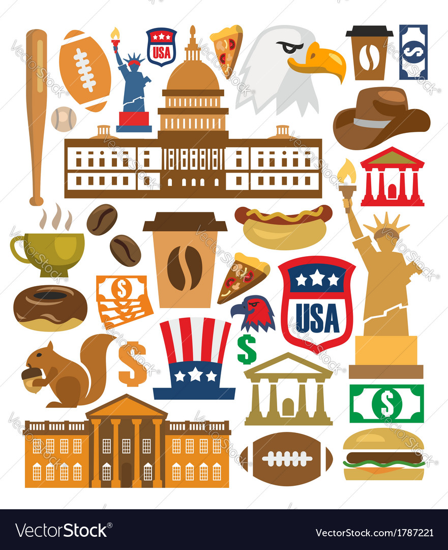 America icons set vector | Price: 1 Credit (USD $1)