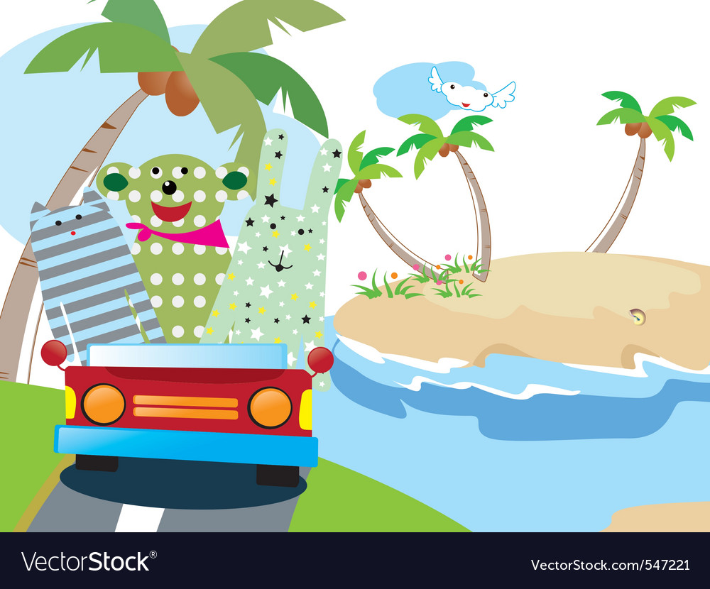 Animals vacation time vector | Price: 1 Credit (USD $1)