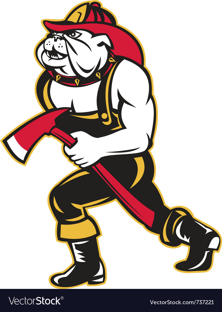 Bulldog fireman with axe vector | Price: 1 Credit (USD $1)
