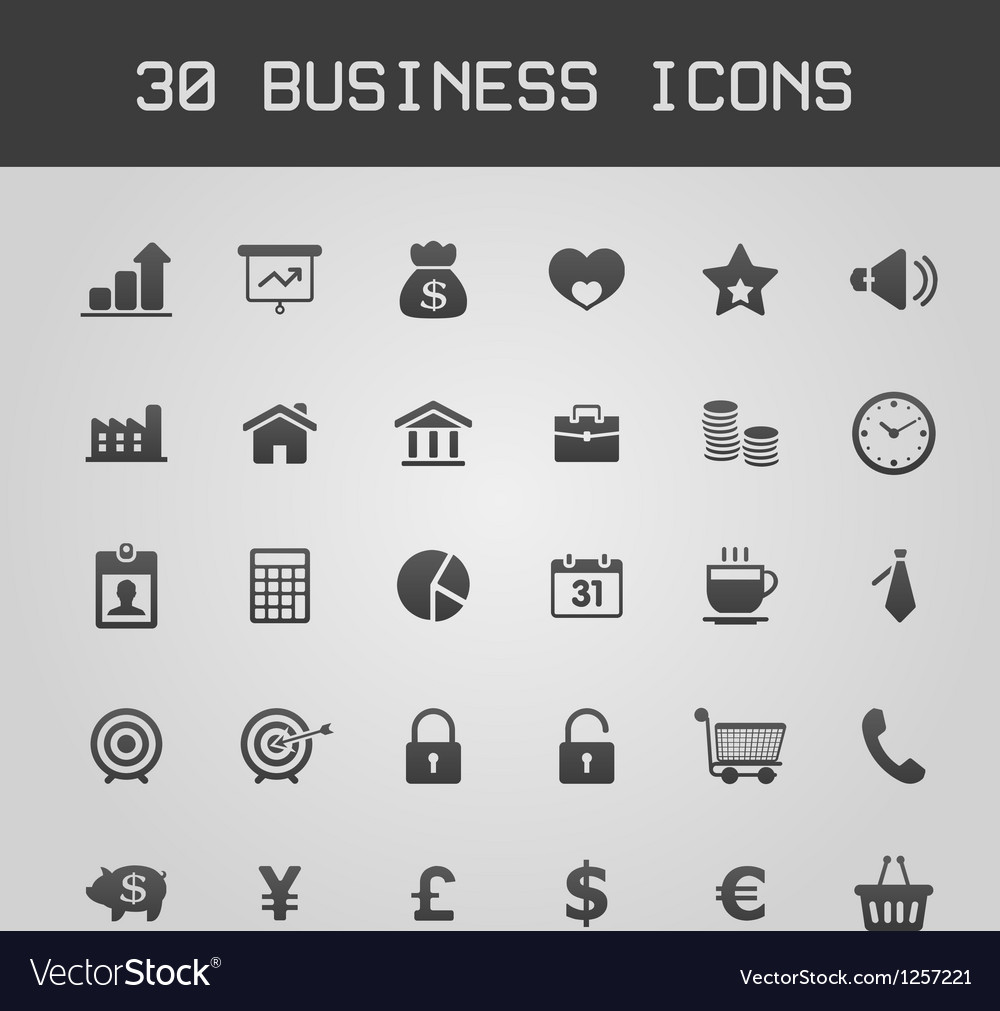 Business design elements icon set vector | Price: 1 Credit (USD $1)