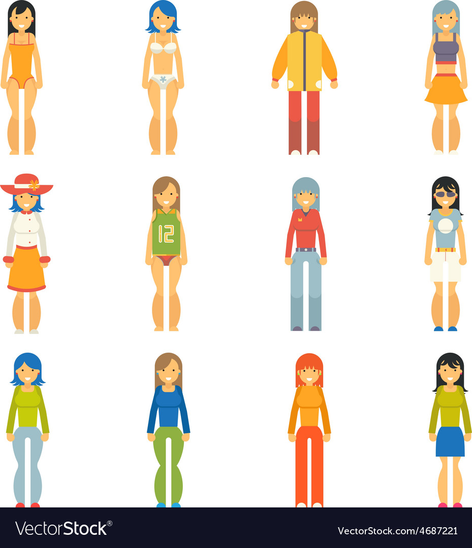 Fashion girls female characters icons set flat vector | Price: 1 Credit (USD $1)
