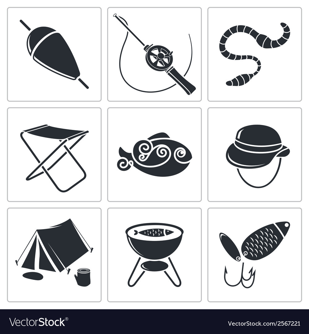 Fishing icons set vector | Price: 1 Credit (USD $1)