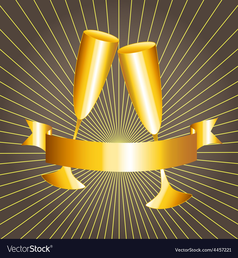 Gold cups and ribbon banner vector | Price: 1 Credit (USD $1)