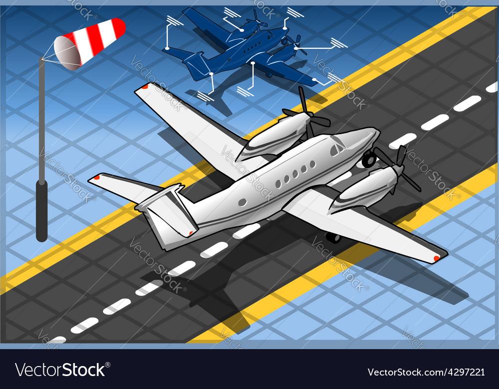 Isometric white private plane vector | Price: 3 Credit (USD $3)