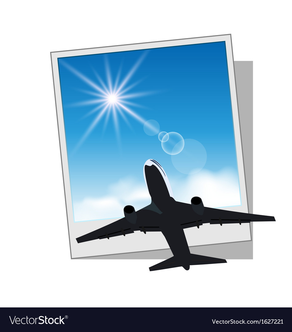 Photo frame with plane and sky vector | Price: 1 Credit (USD $1)