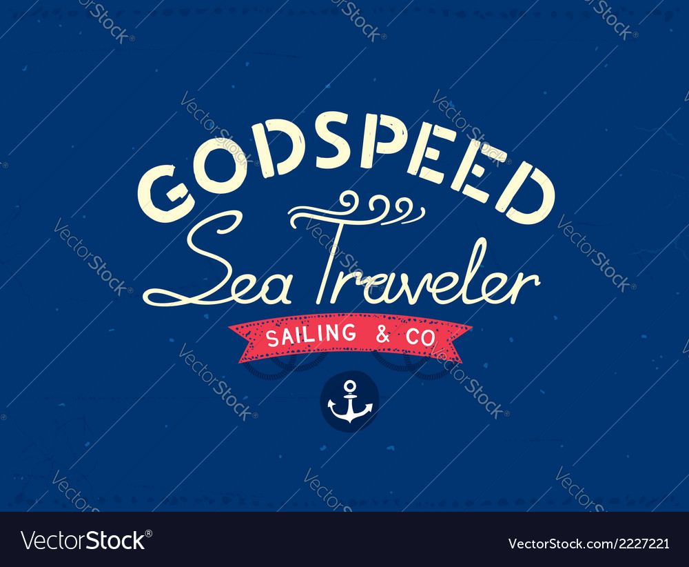 Retro marine travel postcard vector | Price: 1 Credit (USD $1)