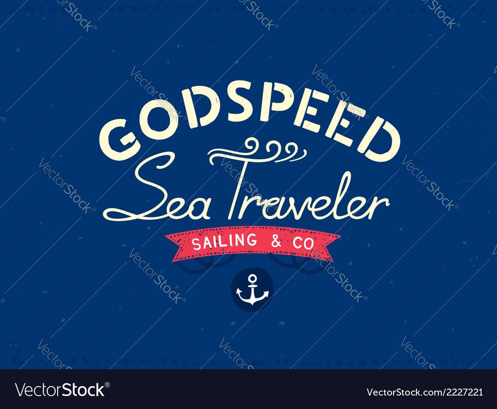 Retro marine travel postcard vector | Price: 1 Credit (USD $1)