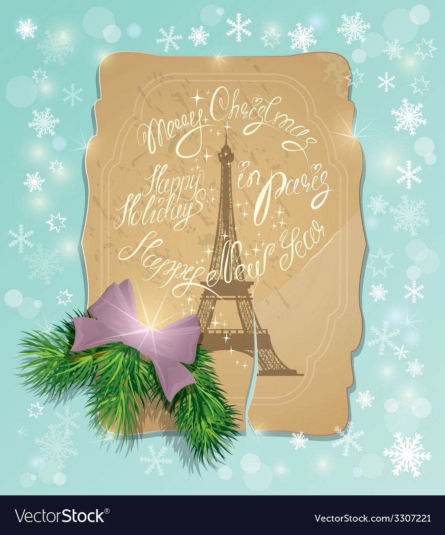Vintage postcard with the eiffel tower handwritten vector | Price: 3 Credit (USD $3)