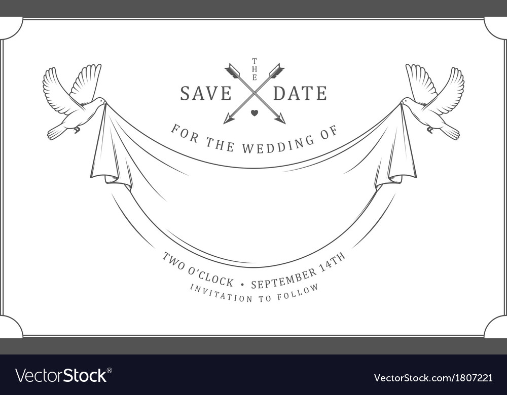 Vintage wedding invitation stamp vector | Price: 1 Credit (USD $1)