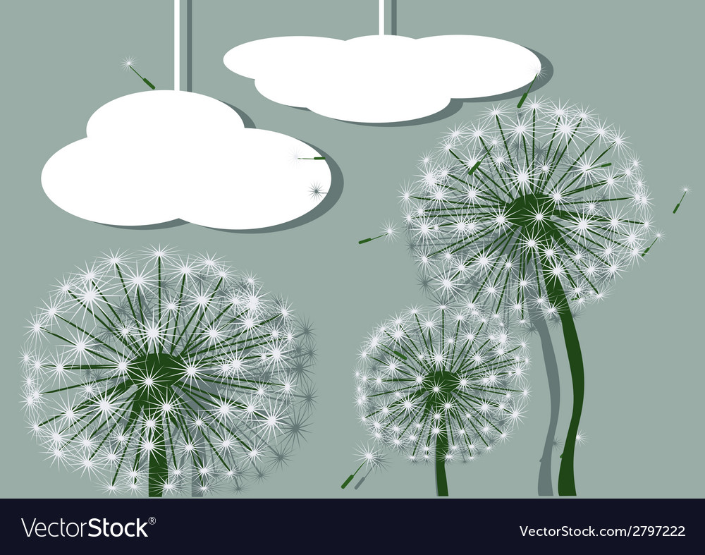 Abstract dandelions and clouds vector | Price: 1 Credit (USD $1)