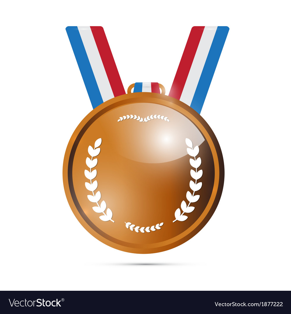 Bronze medal award isolated on white background vector | Price: 1 Credit (USD $1)
