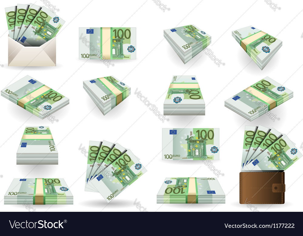 Full set of hundred euros banknotes vector | Price: 3 Credit (USD $3)