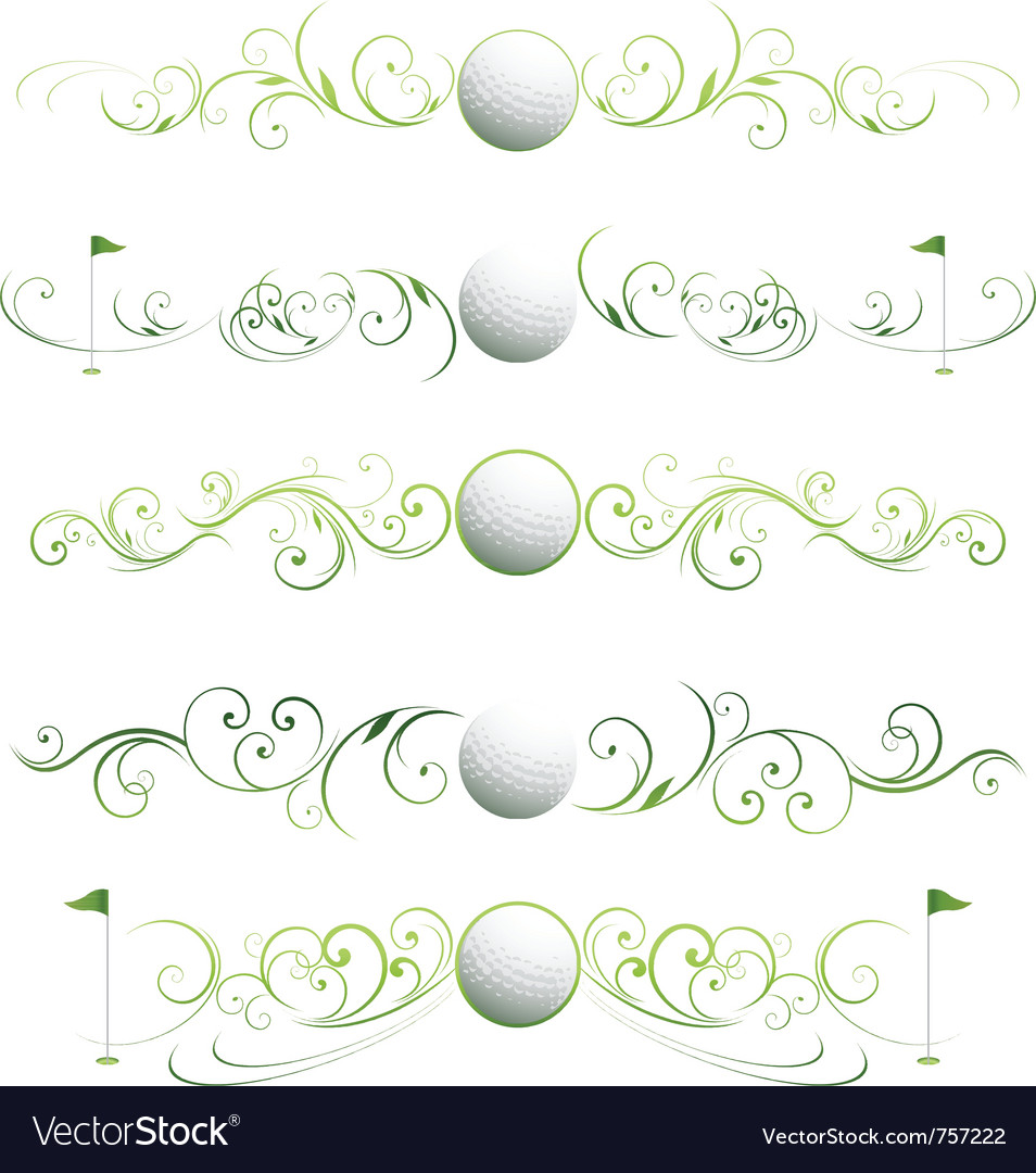 Golf floral banners vector | Price: 1 Credit (USD $1)