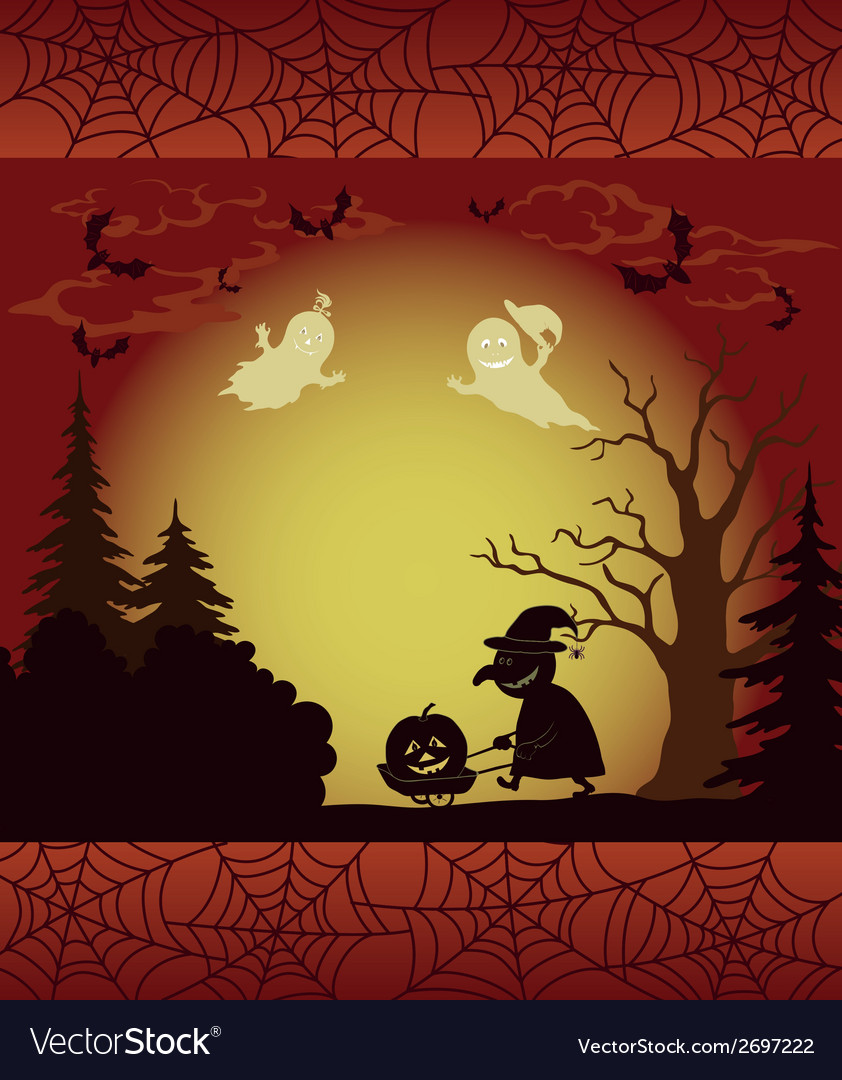 Halloween landscape ghosts pumpkins and witch vector | Price: 1 Credit (USD $1)