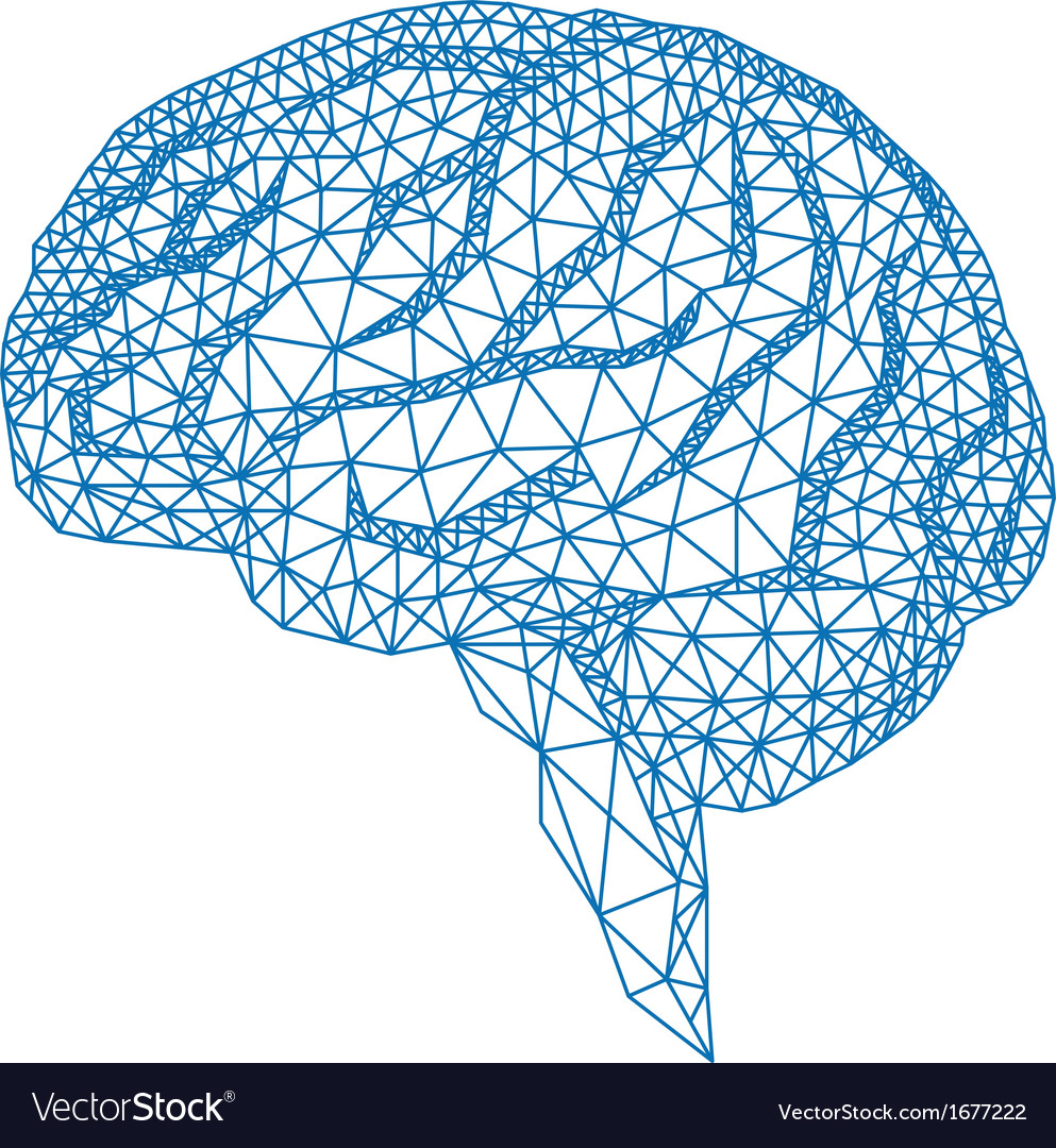 Human brain with geometric pattern vector | Price: 1 Credit (USD $1)