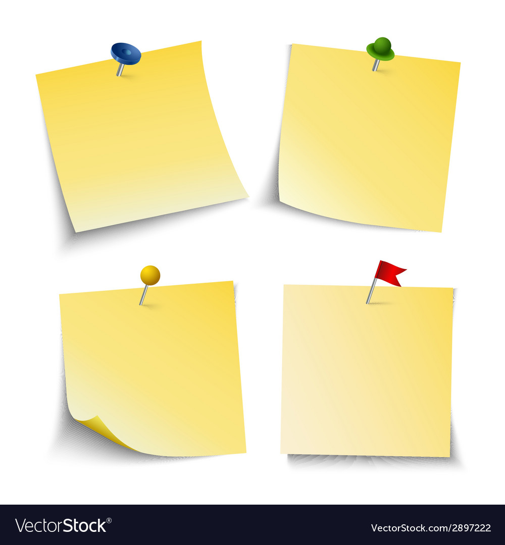 Note paper with push colored pins template vector | Price: 1 Credit (USD $1)