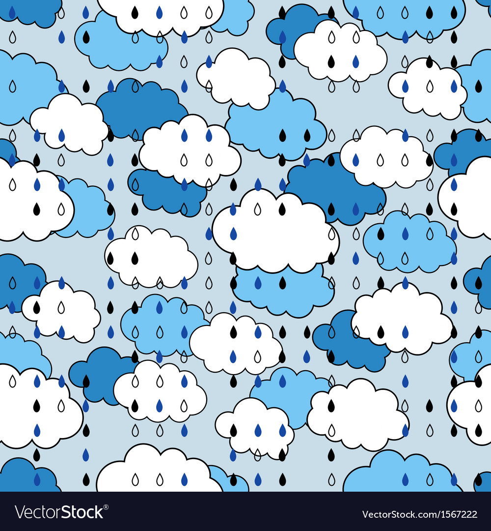 Seamless pattern with clouds and rain the weather vector | Price: 1 Credit (USD $1)
