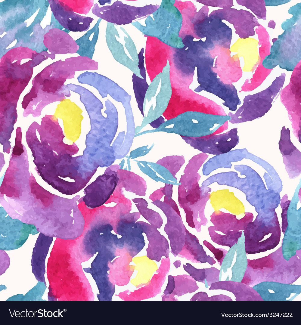 Seamless watercolor rose floral pattern vector | Price: 1 Credit (USD $1)